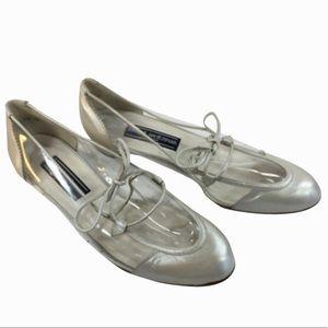 Vintage Stuart Weitzman Silver & Clear Oxfords 8.5